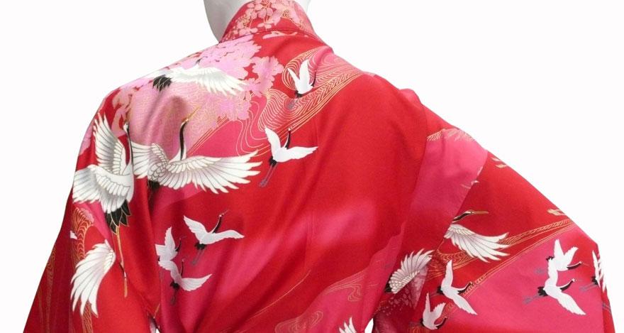 Kimono mit Kranichen