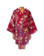 Kimono Sakura (Kirschblüten) rot, kurz, Happi