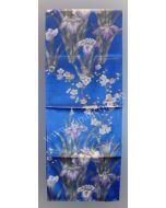 Seiden Schal Iris und und Pflaumenblüte blau