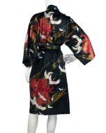Kimono Seide Tsuru schwarz kurz