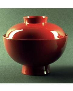 Suppenchale mit Deckel Zen Lack rot