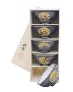 5 Reisschalen Nishiki Makie im Holzregal