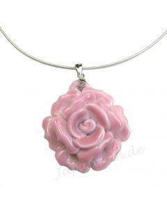 Anhänger Porzellan Rose pink mit/ohne Kette