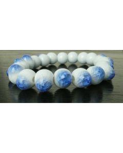 asiatisches Armband aus Porzellan-Perlen blau