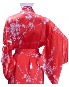 Damen Kimono Morgenmantel Cherry Blossom Seide rot