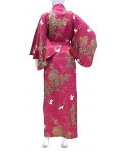 Damen Kimono Kiku Tsuru rot