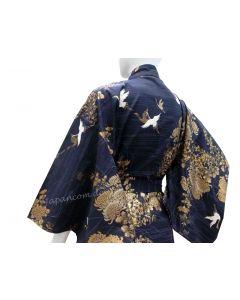 Damen Kimono Kiku Tsuru royalblau