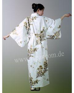 Damen Kimono Kiku Tsuru weiss