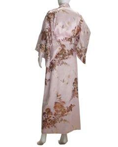 Kimono Seide Kiku Tsuru pfirsich-rosa lang