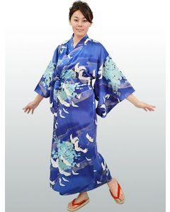 Damen Seiden Kimono Tsuru royalblau, lang
