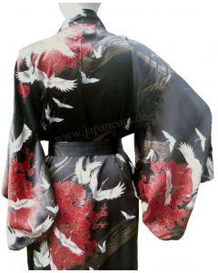 Damenkimono Tsuru (Kranich) Seide schwarz, lang