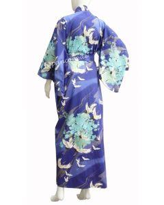 Damen Kimono Tsuru Kranich blau