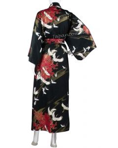 Damen Kimono Tsuru gefüttert schwarz