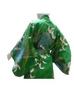 Damen Kimono Tsuru Kranich grün