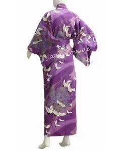 Damen Kimono Tsuru Kranich lila