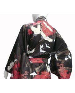 Damen Kimono Tsuru Kranich schwarz