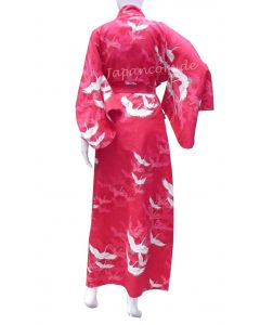 Damen Yukata Kimono Kranich Wellen rot