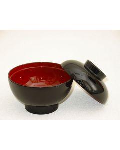 Suppenschale mit Deckel Lack schwarz-rot
