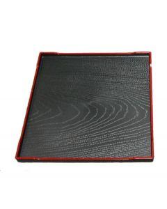 kl. Lacktablett mit Baumrelief, schwarz  21x21 cm
