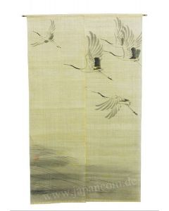 Noren Tsuru Kranich Leinen beige, lang