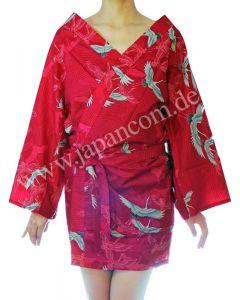 Happi - Kimono Bademantel Kranich Wellen rot kurz