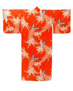 Damen Kimono Pfau rot, lang