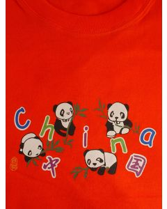 Kinder T-Shirt Panda,rot orange