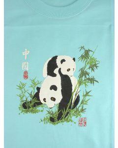 Kinder T-Shirt Panda, türkis