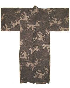 Yukata Kimono Wellen schwarz L, 150cm