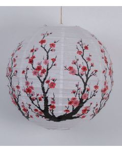 Papierlampe Lampion Kirschblüte weiß rund