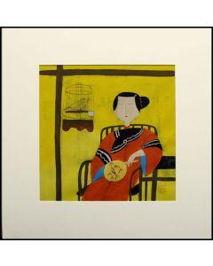 Bild - Dame im roten Gewand