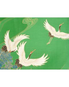 Happi - Kimono Tsuru (Kranich) grün, kurz