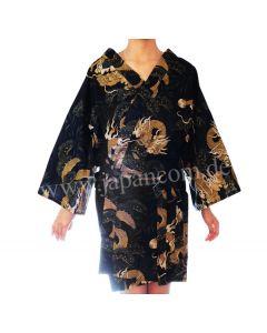 Happi - Kimono Drachen-Kiefer schwarz, kurz, Vorderseite