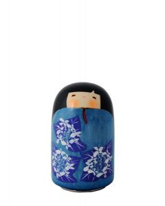 Puppe Kokeshi blau mit Musiklaufwerk