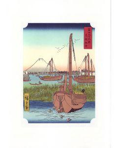 Holzschnitt Mount Fuji Scene off Tsukuda