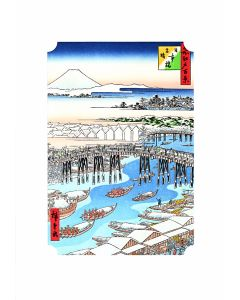 Holzschnitt Nihonbashi Brücke, schneebedeckt