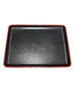 Lacktablett schwarz mit Rotrand 28x38,5cm