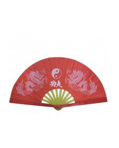 Tai Chi Fächer aus Kunststoff ´2 Drachen´ rot