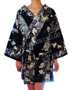 Kimono Sakura (Kirschblüte) schwarz, kurz - Happi