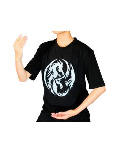 Tai chi T-Shirt Drachen schwarz