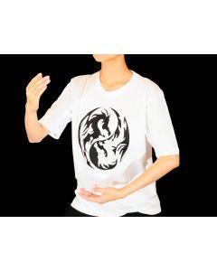 Taichi T-Shirt Drachen weiss