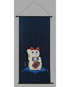 Rollbild Maneki Neko Glückskatze blau
