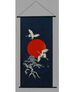 Wandbehang Rollbild Tsuru blau