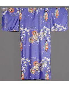 Damen Kimono Maiko lila-blau