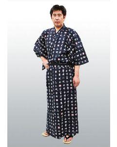 Herren Yukata Shin Kanji blau