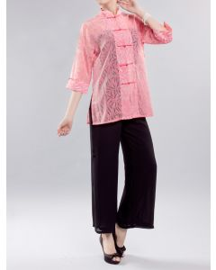 Chinesiche Sommerbluse Bambus pink