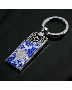 Schlüsselanhänger Porzellan Blaue Blumen