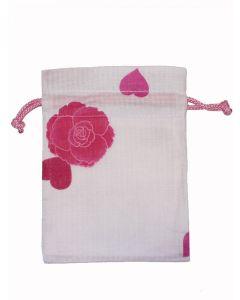 Kleiner Beutel Kinchaku Blume weiss-pink