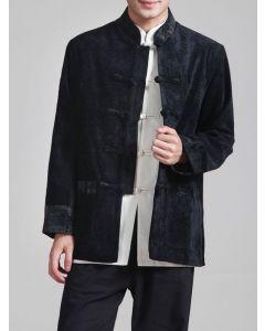 Chinesische Jacke mit Stehkragen schwarz