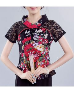 Chinesische Bluse Päonie schwarz Gr.38